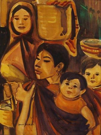 Dorothy Sklar Mexican Family 25x19 Watercolor