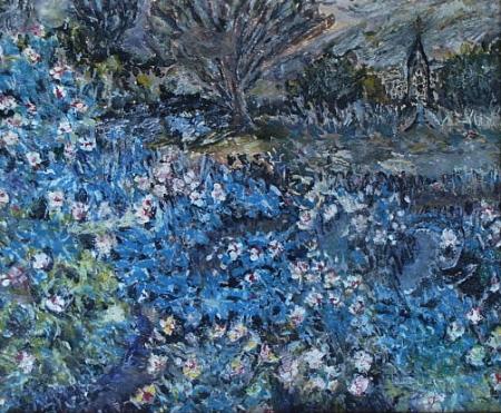 Elisabeth Eaton Burton Blue Flower Fields 10x12 Gouache