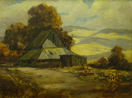 Eugene Franquinet Old Barn 18x24 Oil on Board