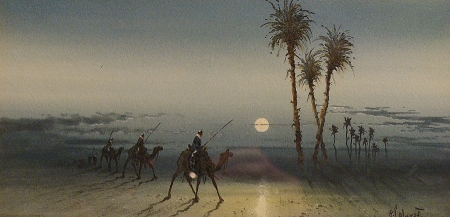 European watercolor by Eugene Marguerite Calmant of camels, legionaires and camels crossing the desert at sunset
