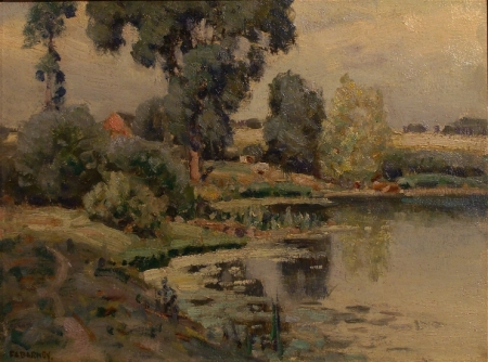 Frank A Barney Landscape with Pond 12x16 Oil on Board