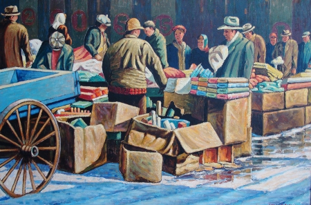 Frank J Gavencky Chicago Fabric Marketplace 24x36 Oil on Board