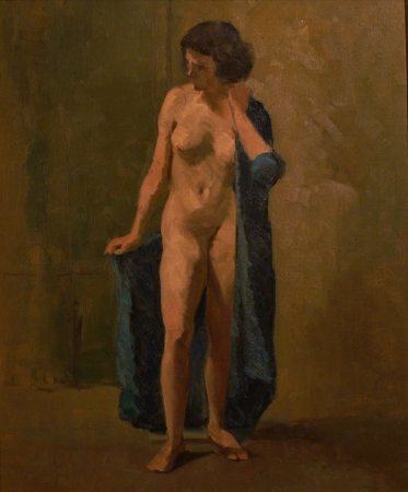 Frank L Sanford Nude in Blue 24x18 Oil on Canvas