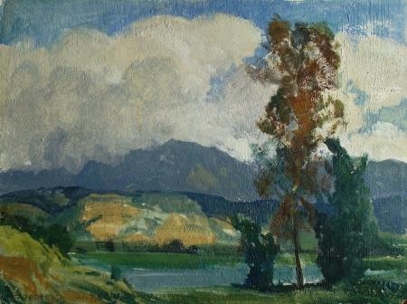 Frederick W Becker Chatsworth Reservoir San Fernando Valley 12x16 Oil