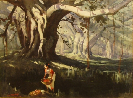 GD Paul Raj Under the Giant Ficus 16x20 Watercolor