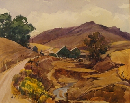 Gullied Ranch by Morro Bay by George Gibson 19x24 Watercolor