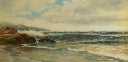 George Howell Gay Coastal Surf 13x22 Watercolor