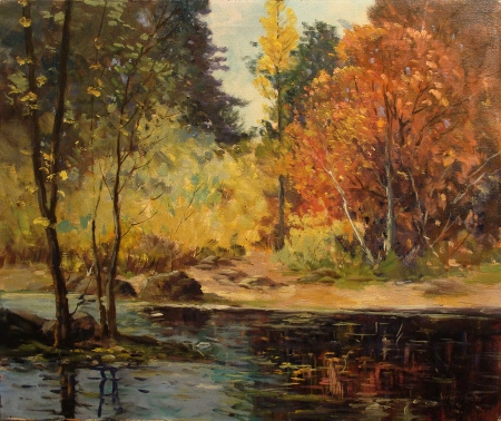 George S Bickerstaff Truckee River 20x24 Oil on Canvas