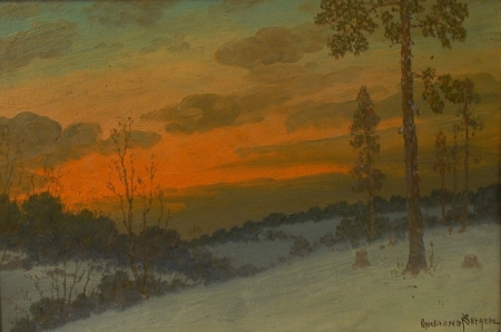 Gulbrand Sether Norway Sunset 10x14 Oil on Board