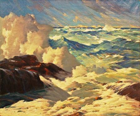 Gustave Cimiotti Ponderous Sea, 30x36 Oil on Canvas