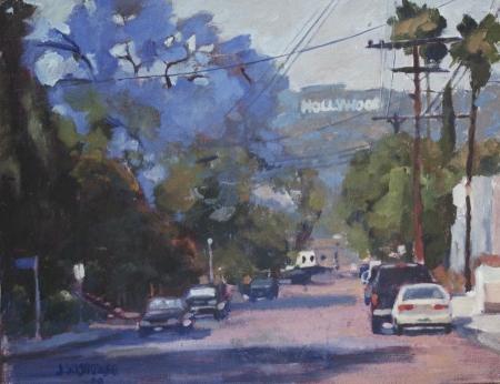 James Wisnowski Hollywood Sign with Jacaranda Oil Painting