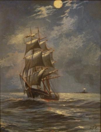 James S Edwards Moonlit Sailing 14x11 Mixed Media