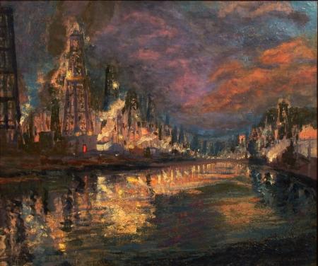 James Stuart Blackton Venice Oil Fields 20x24 Oil on Canvas
