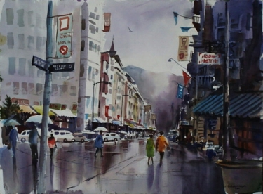 The Busy City by John Bohnenberger 22x30 Watercolor