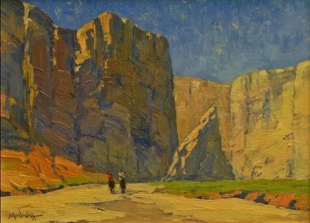 John Modesitt Riders in Canyon de Chelly 12x16 Oil on Canvas Board