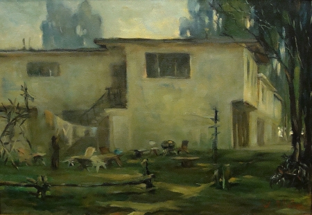 Joseph Areno Apartments Isle Vista Santa Barbara 22x32 Oil on Canvas