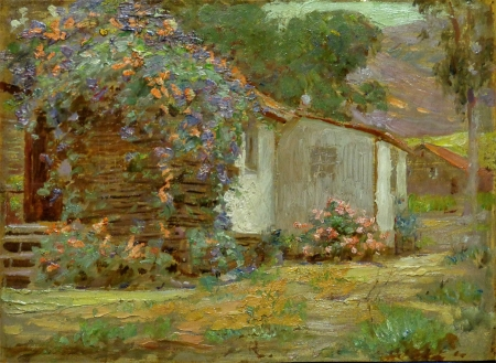 Joseph Gies Vine Covered Cottage Oil Painting