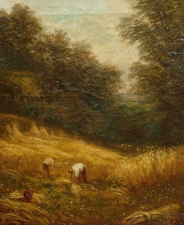 Joseph Linnell Harvesting the Wheat 12x10 Oil on Canvas