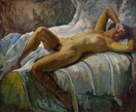 Joseph Newman Reclining Nude 24x30 Oil on Canvas