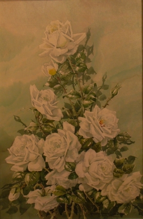 Marjorie Ransom Cummins White Roses 24x16 Watercolor