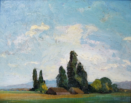 Nelbert Chouinard Distant Farm 11x14 Oil on Board