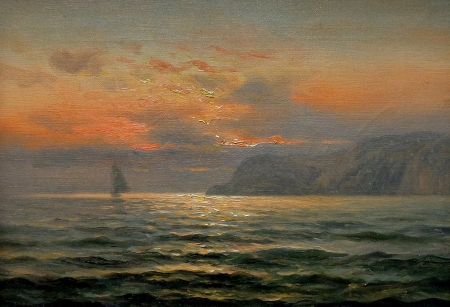 Nels Hagerup Sunset San Francisco Bay 10x14 Oil on Canvas
