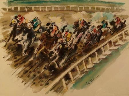 The Back Stretch Santa Anita by Noel Quinn 20x24 Watercolor
