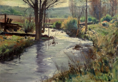 Paul Lauritz Farmland Creek 24x34 Oil on Canvas