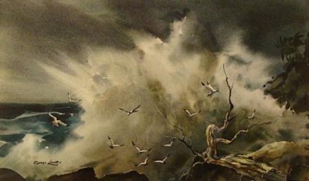 Birds and Spray by Robert Landry 12x20 Watercolor