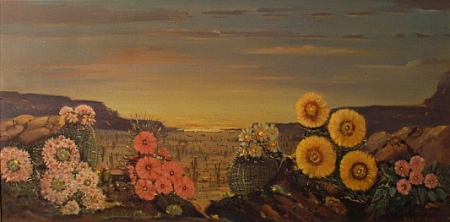 Roy M Ropp Desert Flowers 15x30 Oil