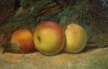 Samuel Marston Brookes Three Peaches 6x12 Oil on Board