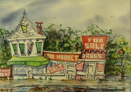 Stanley Brody Food Market 10x14 Watercolor
