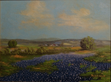Thomas L. Lewis Texas Bluebonnets 12x16 Oil on Board