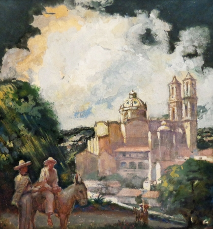 Unknown Artist Overlooking Taxco 13x14 Gouache