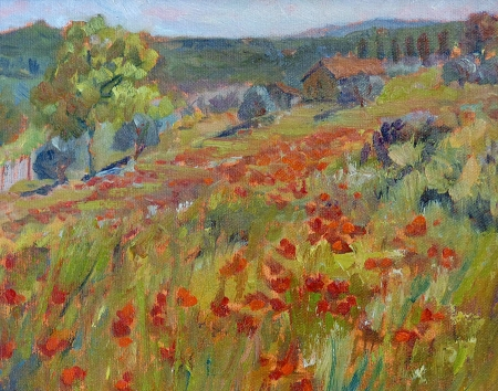 Val Carson Tuscany Poppies 8x10 Oil on Board