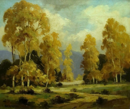 Walter Farrington Moses Autumn Sycamores California 22x36 Oil