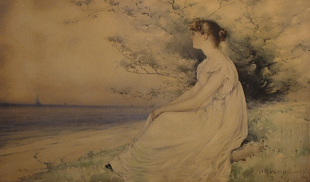 Watercolor by William Henry Holmes of a young girl in a white gown looking over the ocean from the shore