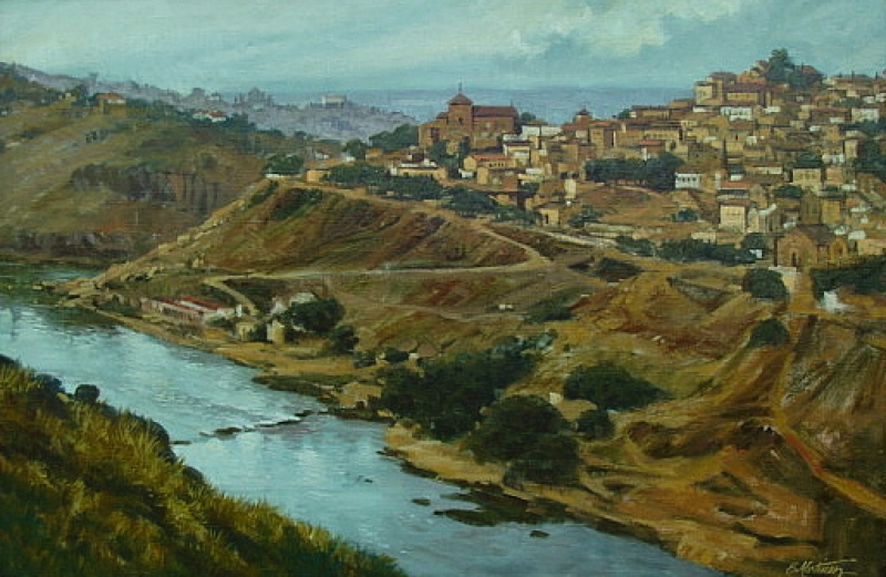 E Martinez City on a Hill 24x36 Oil