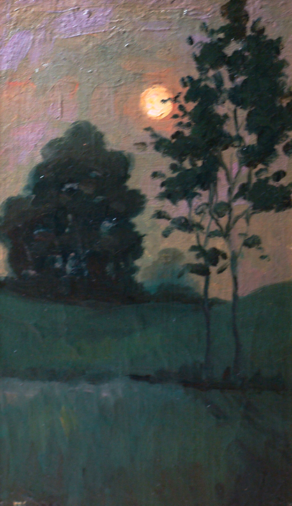 Edward Wuerpel Moonrise 10x6 Oil on Canvas