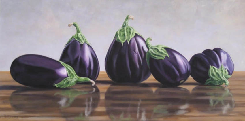 Eggplants by Susan Sjoberg Acrylic Painting