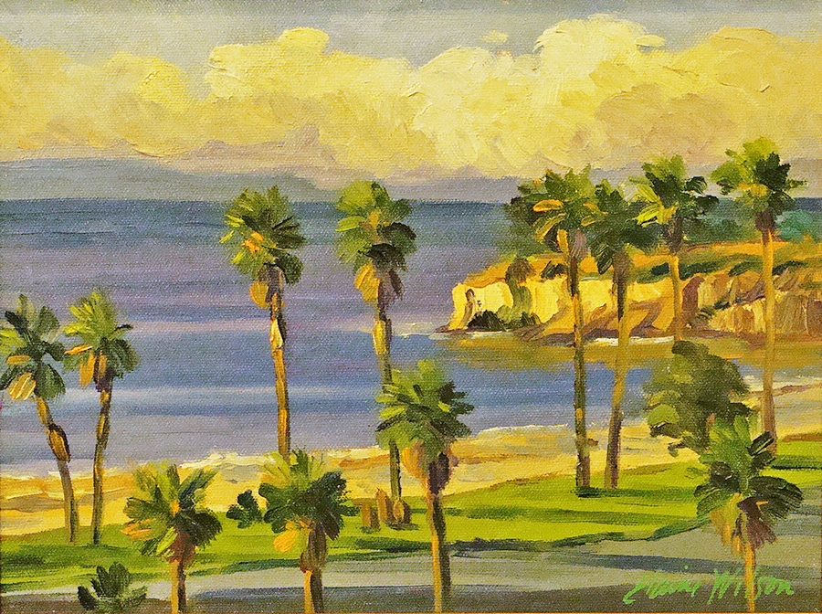 Elaine Wilson Leadbetter Beach Sunrise 9x12 Oil on Board