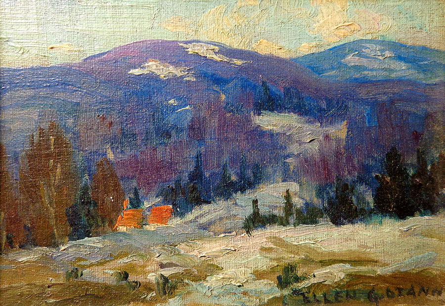 Ellen G Ozanne Catskill Mountains 3x5 Oil on Board