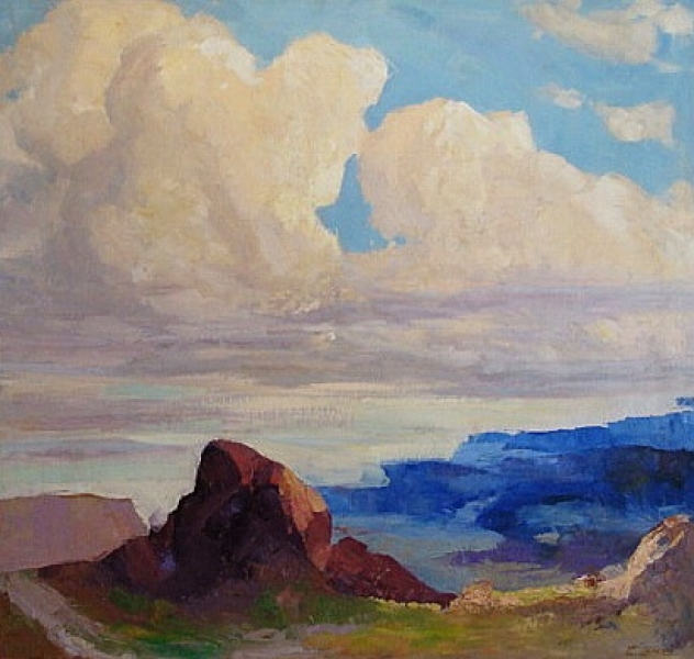 Emilio Lanzi Billowing Clouds Over the Desert 40x38 Oil
