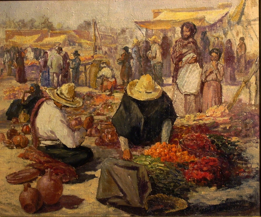 Eugene Franquinet Mexican Market 20x24 Oil on Canvas