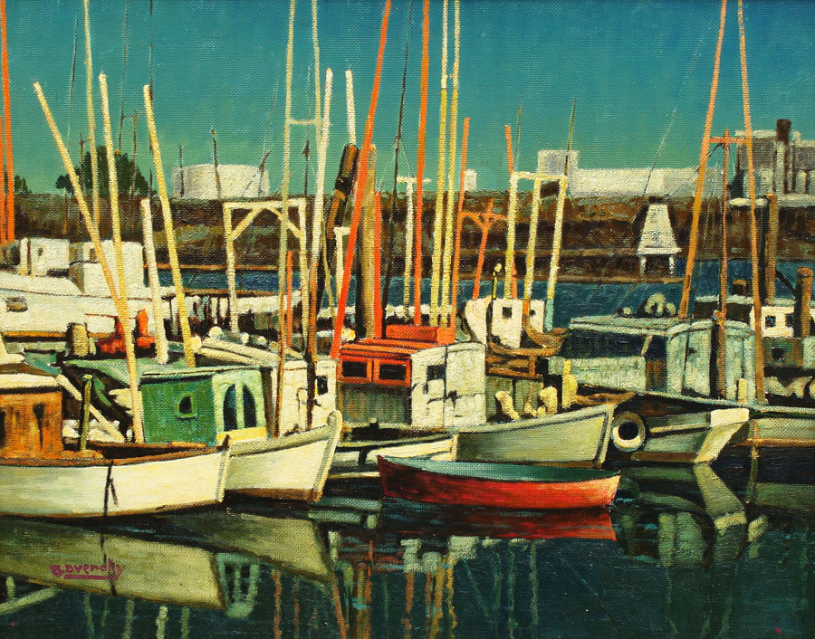 Frank Gavencky San Pedro Harbor 24x30 Oil on Board