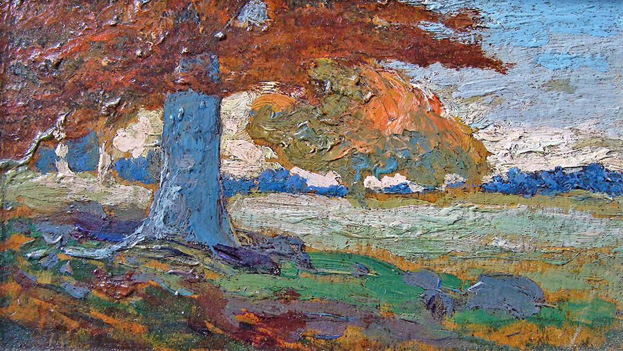 Frank Giradin Colorful Landscape 3x6 Oil on Board
