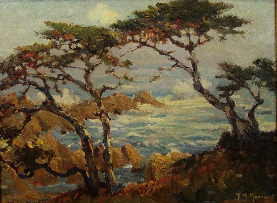 Frank Montague Moore Monterey Trees 12x16 Oil on Board
