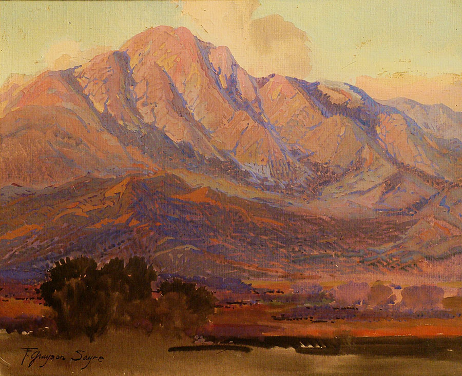 Fred Grayson Sayre Evening Santa Paula Mountains 11x14 Gouache