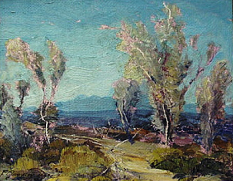 Smoke Trees by Fred Grayson Sayre 8x10 Oil Painting