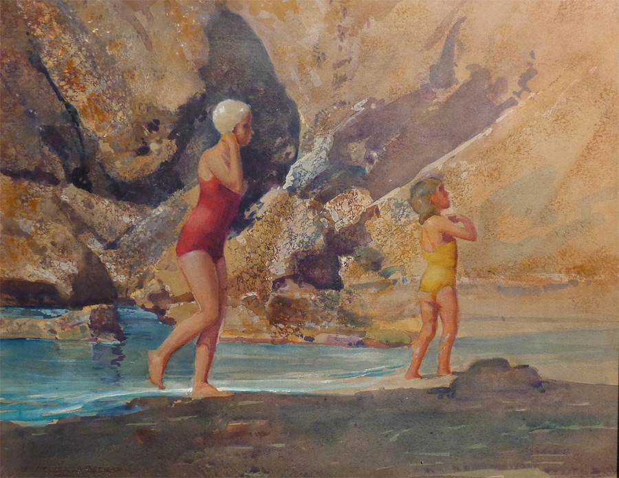 Frederick Becker By the Tidal Pools 16x20 Watercolor